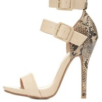 Python Single Sole Ankle Strap Heels by Charlotte Russe - Natural