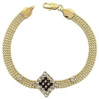 Gold Layered 5.022.003 Fancy Bracelet, with Rhodolite and White Cubic Zirconia, Polished Finish, Golden Tone