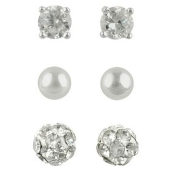 Women's Button Earrings Set of 3 with Cubic Zirconia Stud, Ball and Crystal Fireball - Silver/Clear