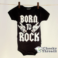 Born To Rock Silver Onesuit Baby Romper Cool Rock Toddler infant clothing