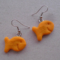 Goldfish cracker earrings with smiles