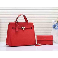 Hermes Women Fashion Leather Handbag Tote Shoulder Bag Satchel Set Two Piece