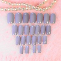 24PCS Light Pink Purple Taro Color False Nails Full Wrap Curve Press on Nail Art Tips Fake Nail with Glue Sticker Z225