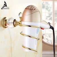 Luxury Brass Crystal Bathroom Wall Shelf Wall-mounted Hair Dryer Rack Storage Hairdryer