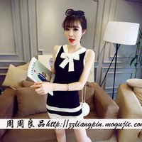 Korean version of the summer ice silk knit dress Slim straps