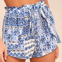 Still Life Blue Print Shorts