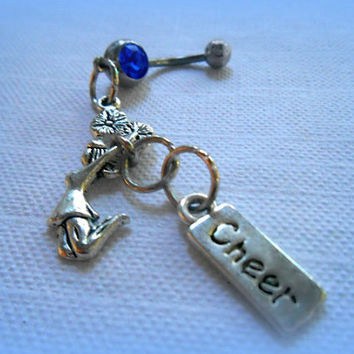 Cheerleader Belly Ring,  Cheer Squad, U Rah Rah, Sports, Cheerleader Jewelry,Trendy, Athletic, Athlete, Navel, Belly Button, Team Spirit,