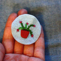 Christmas Cactus - Tiny Hand Embroidered Patch