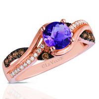 Le Vian® Round Cut Cotton Candy Amethyst® Ring Set in 14K Strawberry Gold®