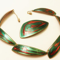 Rare Vintage Marca Copper Dark Green Enamel Modernist Abstract Necklace Jewelry Set