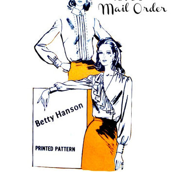 High Neck Button Front or Double Breasted Wrap V Neck Blouse Pattern Betty Hanson 70s Mail Order A718 Sewing Patterns Uncut Size 14 Bust 36