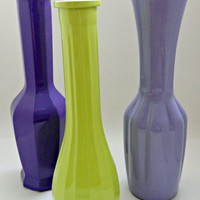 FREE SHIPPING--Vintage repurposed lime green, purple, and violet glass vases--upcycled, shabby chic, periwinkle, spring green