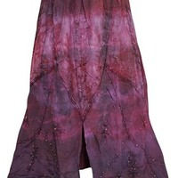 Womem's Maxi Skirt, Purple/Pink Stonewashed Embroidered Rayon Peasant Skirts M
