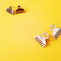 Duafe Adinkra Stud Earrings// African Symbol Earrings, African Comb Earrings, Adinkra African Symbols, Afrocentric Jewelry, African Jewelry