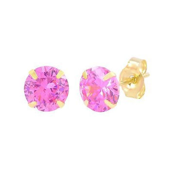 Pink CZ Stud Earrings 10k Yellow Gold October Birthstone Round Cubic Zirconia