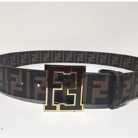FENDI MENS BELT SIZE 34 GOLD TRIM FENDI BUCKLE/ BROWN /BLK BAND