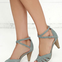 Seychelles Scenic Light Blue Suede Leather Heels