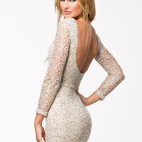 CROCHET SEQUIN BODYCON DRESS