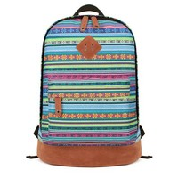 MagicPieces Multicolour Stripes and Little Flowers Print Canvas School Bag Travel Backpack 042301 Z0504