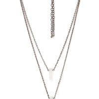 FOREVER 21 Layered Faux Stone Necklace Set Gunmetal/Clear One