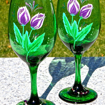 Painted Wine Glasses With Purple Tulips And Wine Glass Charms