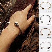 1PCS Chic New Alloy Skull Punk Open Charms Gothic Rock Hand Cuff Bangle Bracelet = 1706378308