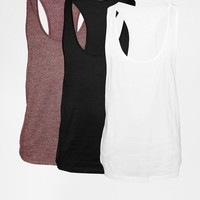 ASOS Tank With Extreme Racer Back 3 Pack Save 22%