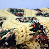 Cozy double thick large crochet afghan, lap blanket, bedding, travel blanket in wheat harvest