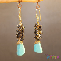 "Clusters of black spinel and turquoise, 1-3/4"" Earring Gold Or Silver"