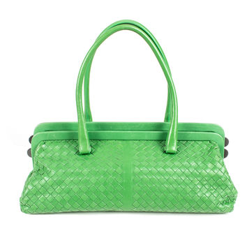 Green Leather Woven Bag