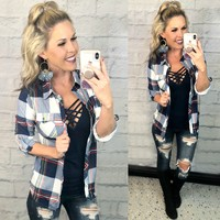 Penny Plaid Flannel Top: Navy/Green/Yellow