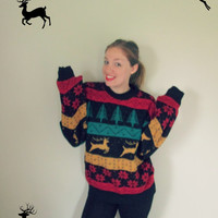 Vintage Reindeer & Christmas Tree Ugly Sweater Party