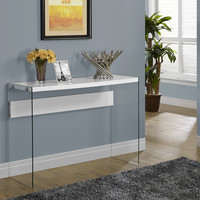 Glossy White Hollow-Core/Tempered Glass Sofa Table