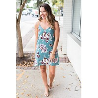 Floral Leopard Shift Dress - Jade