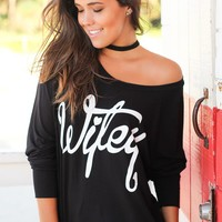 "Black And White ""Wifey"" Top"