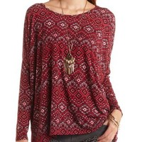 Oversized Tribal Print Top by Charlotte Russe - Black Combo