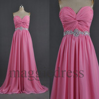 Custom Beads Chiffon Pink Long Prom Dresses Evening Gowns Formal Party Dresses Bridal Gown Wedding Dress Bridesmaid Dresses 2014 Formal Wear