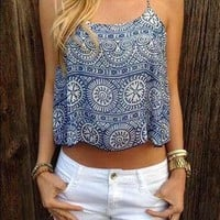 Casual Boho Street Floral Print Halter Top