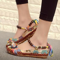 Karinluna 2018 Spring Summer Sweet print string beads Flats Women plus size 35-42 shoelaces Casual women's Shoes Woman