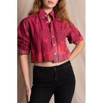 Libby Story OOAK Button Up Bleached Shirt