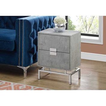 """23.5"""" Grey Cement White Particle Board and Chrome Metal Accent Table"""