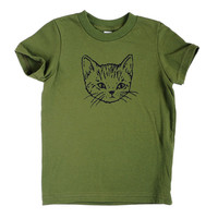 Cute Cat Kids Tee - Olive Green