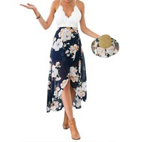 Summer Style Women Lace Long Flower Print Patchwork Dresses V Neck Sexy Women Lace Dress