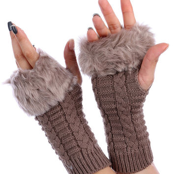 Light Brown Faux Fur Knitted Hand Warmers