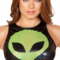 Green Alien Metallic Semi Sheer Black Halter Top