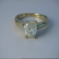 2.72ct F-SI1 Cushion Cut Diamond Engagement Ring EGL certified 18kt yellow gold JEWELFORME BLUE