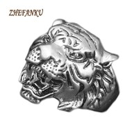 2017  Male Personality Unique Men's Animal Jewelry European fashion Animal Tiger Head Ring