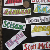 Set of 5 Teen Wolf Words Stickers