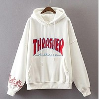 """Thrasher"" men and women fashion letters hooded pullover F"