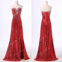 Bling Sequins~ Long Split Evening Bridesmaid Prom Dresses Formal Party Ball Gown